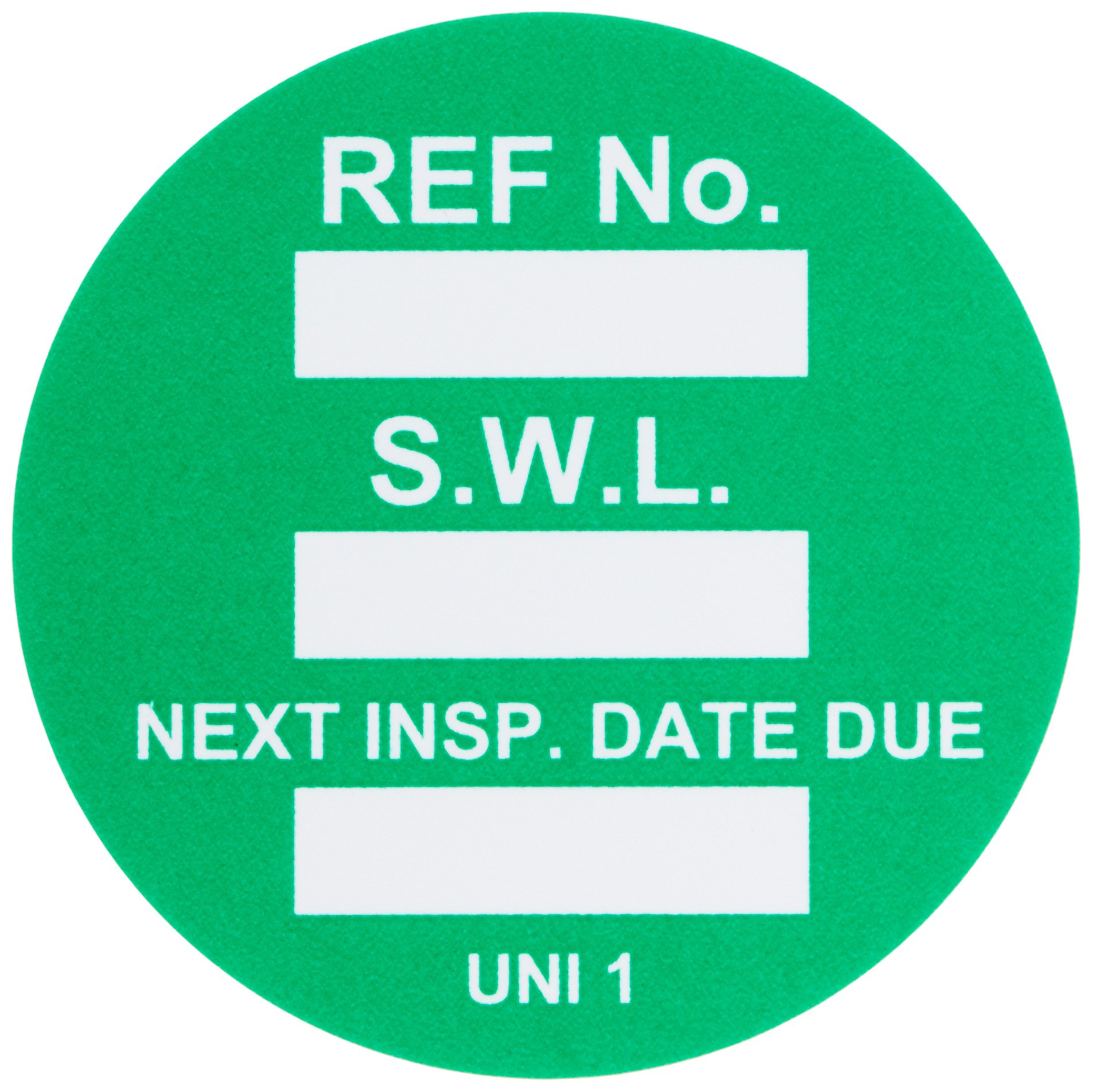 Brady UNI-UNI GREEN, Green Universal Tag INSERTS SAFE WORK LOAD 100/Package GRN (100 Tags)