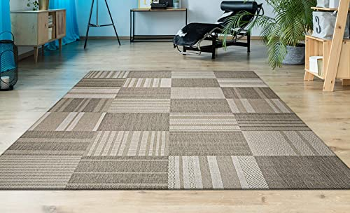 Couristan Afuera Patchwork Rug, 7-Feet 10-Inch by 10-Feet 9-Inch, Beige Ivory