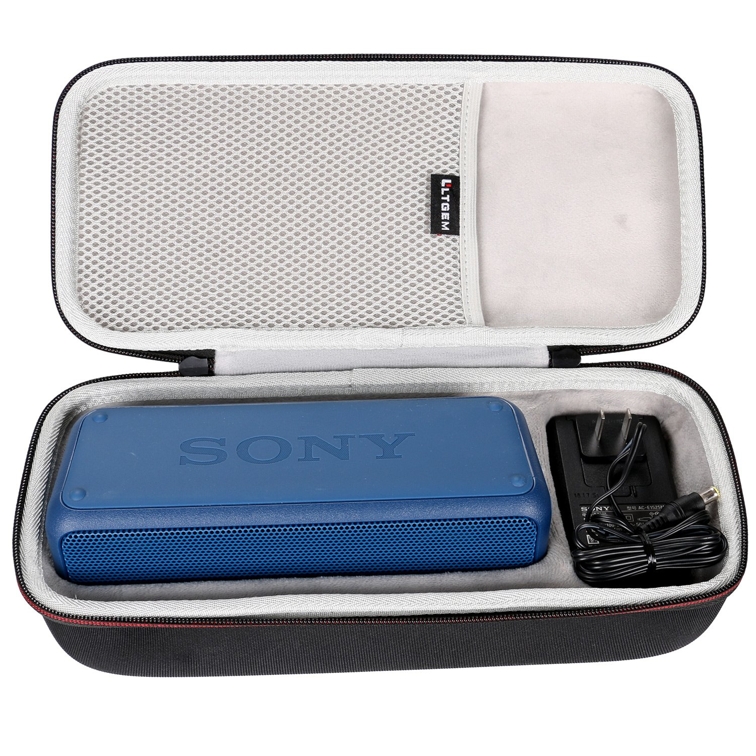LTGEM EVA Hard Case Travel Carrying Storage Bag for Sony SRS-XB3 Portable Wireless Bluetooth Speaker. Fits USB Cable and Wall Charger.