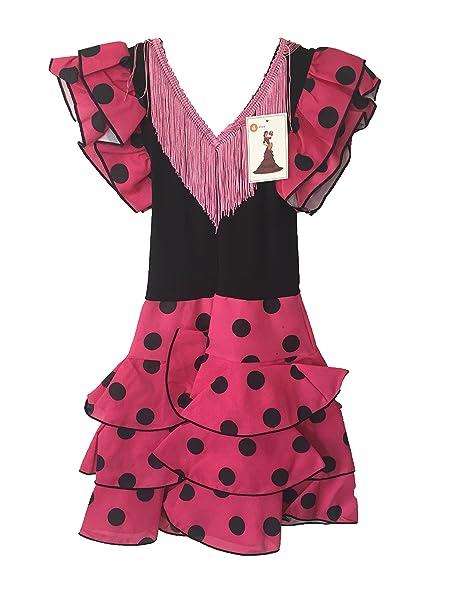 Traje de flamenca para niñas, color rosa, lunares negros ...