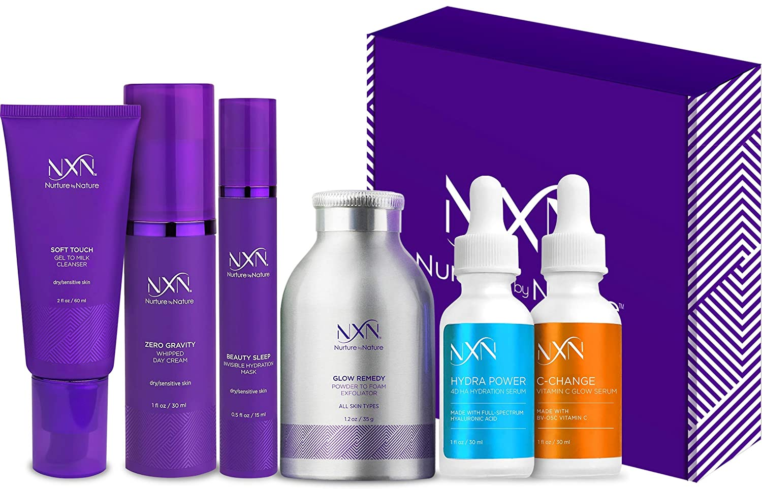NxN Skin Care System, Complete Anti Aging Kit, Daily Moisturizer With Vitamin C & Hyaluronic Acid Serums, Face Moisturizer, Gentle Cleanser, Powder Exfoliator, Face Mask - Hydrate & Reduce Wrinkles