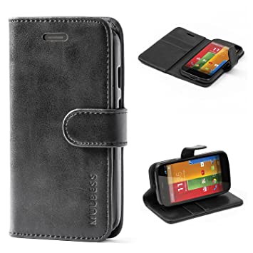 new products cacb3 fd77e Moto G 1st Gen Case,Mulbess Leather Case, Flip Folio Book Case, Money Pouch  Wallet Cover with Kick Stand Motorola Moto G 1st Generation,Black