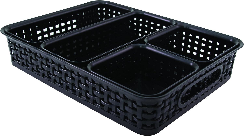 Advantus Plastic Weave Desk Organization Bins, Black, Pack of 5 (37530)