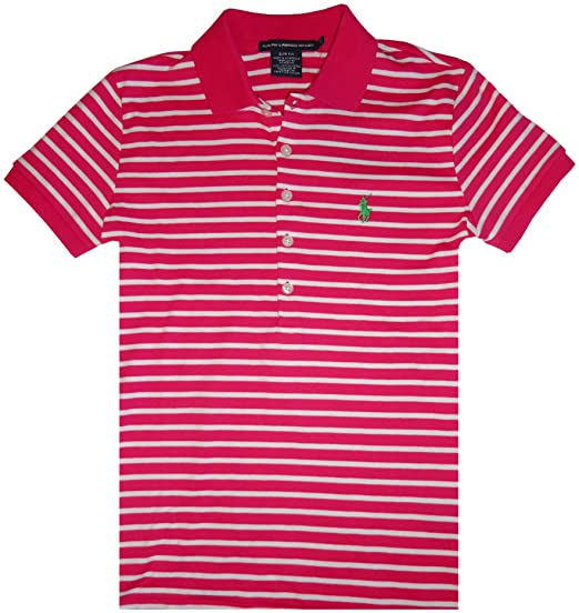 98e0e84c Image Unavailable. Image not available for. Color: Women's Ralph Lauren  Sport Short Sleeve Polo Shirt Pink with White Stripes ...