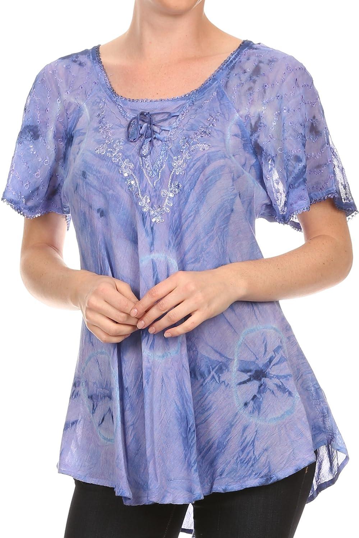 Sakkas Hana Tie Dye Relaxed Fit Embroidery Cap Sleeves Peasant Batik Blouse/Top