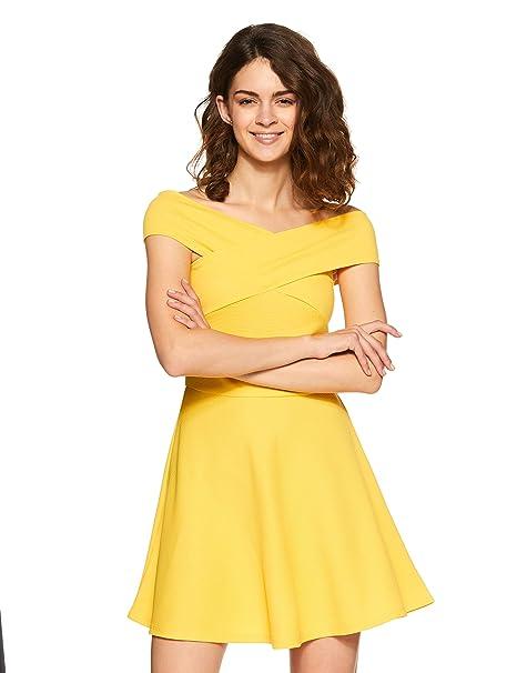 Veni VIDI VICI Yellow Bandage Bardot Skater Dress  Amazon.in ... 666a532b1