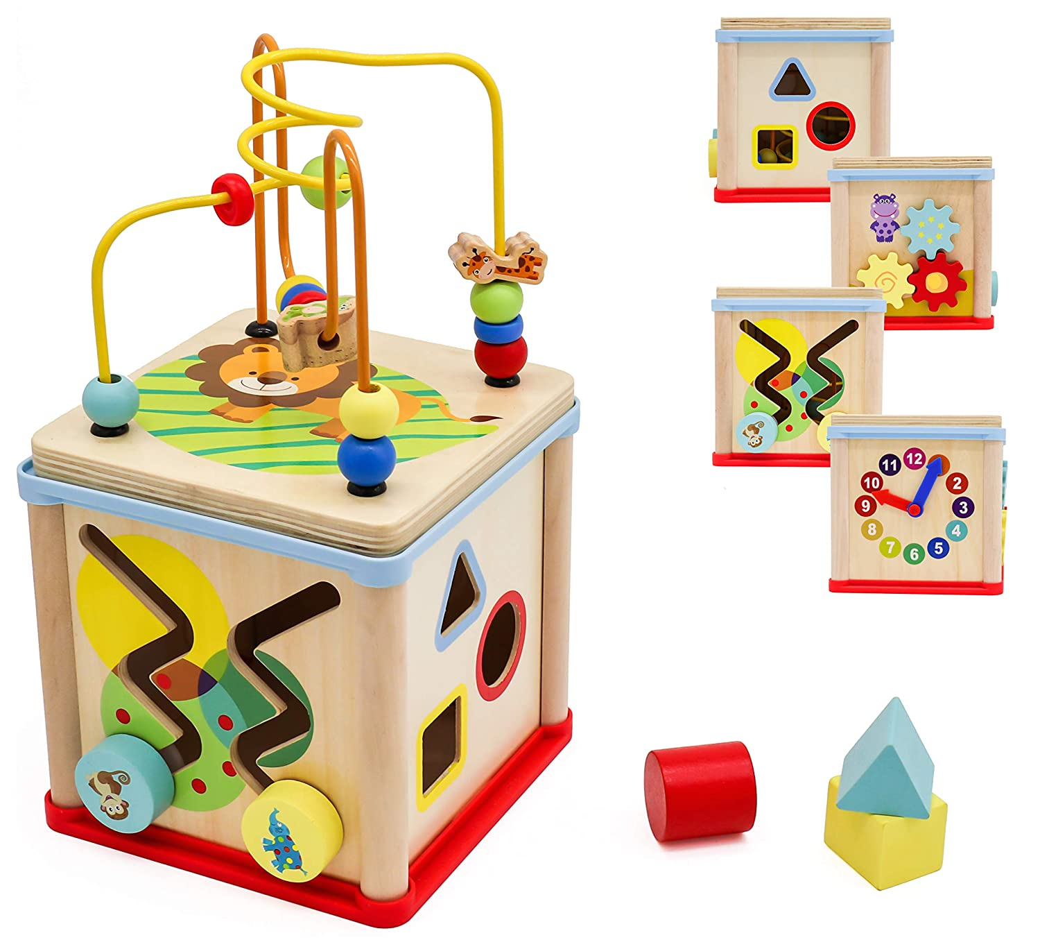 Pidoko Kids Wooden Activity Cube for Toddlers - Fun Learning Toy Gifts for Boys and Girls 1 Year Old and Up
