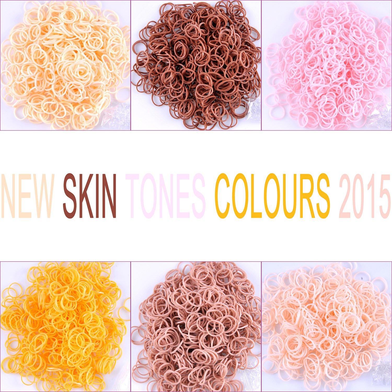 Kirinstores (TM) 3600 PCS 144 Clips Bands Refills for Loom Rainbow Bracelet Dress Making Skin Tone (600 Each of 6 Assorted Colors)