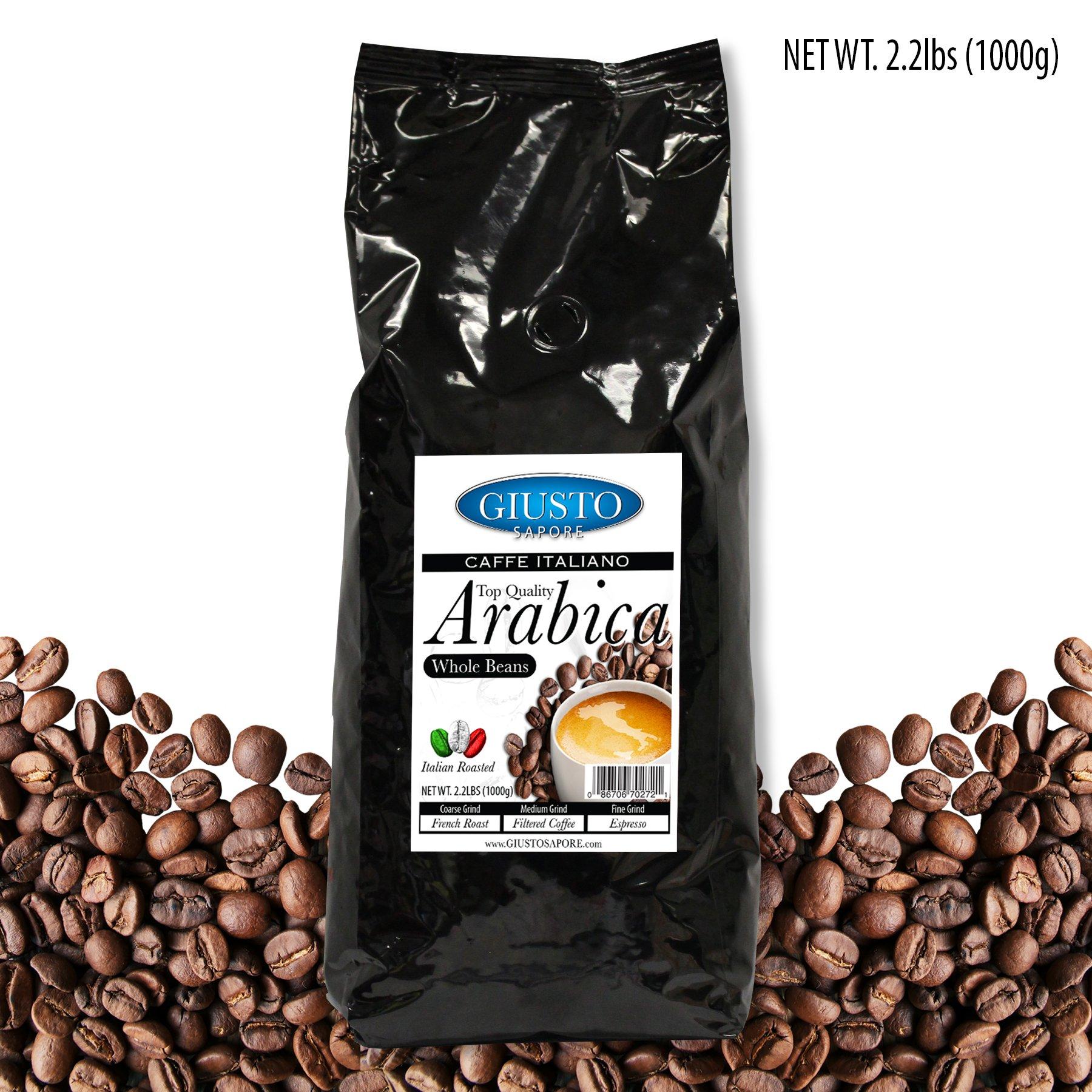 Giusto Sapore Caffe Italiano Italian Roasted Top Quality Arabica Whole Coffee Beans - Premium Superior Quality Gourmet Brand - Family Owned