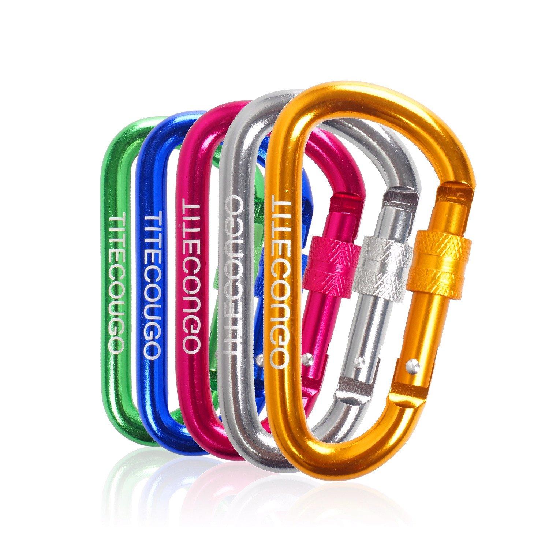 TITECOUGOアルミニウム合金Dリング高強度カラビナキーチェーンクリップフックキャンピングハイキングアウトドア用( クライミングようではありません ) B07BJ5GZWS 5PCS|5色 5色 5PCS