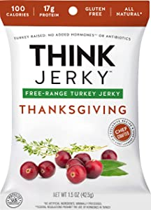 Thanksgiving Turkey Jerky by Think Jerky — Delicious Chef Crafted Jerky — Free-Range Turkey Free of Gluten, Antibiotics, Nitrates — Healthy Protein Snack Low in Calories and Fat — 1.5 Ounce (5 Pack)