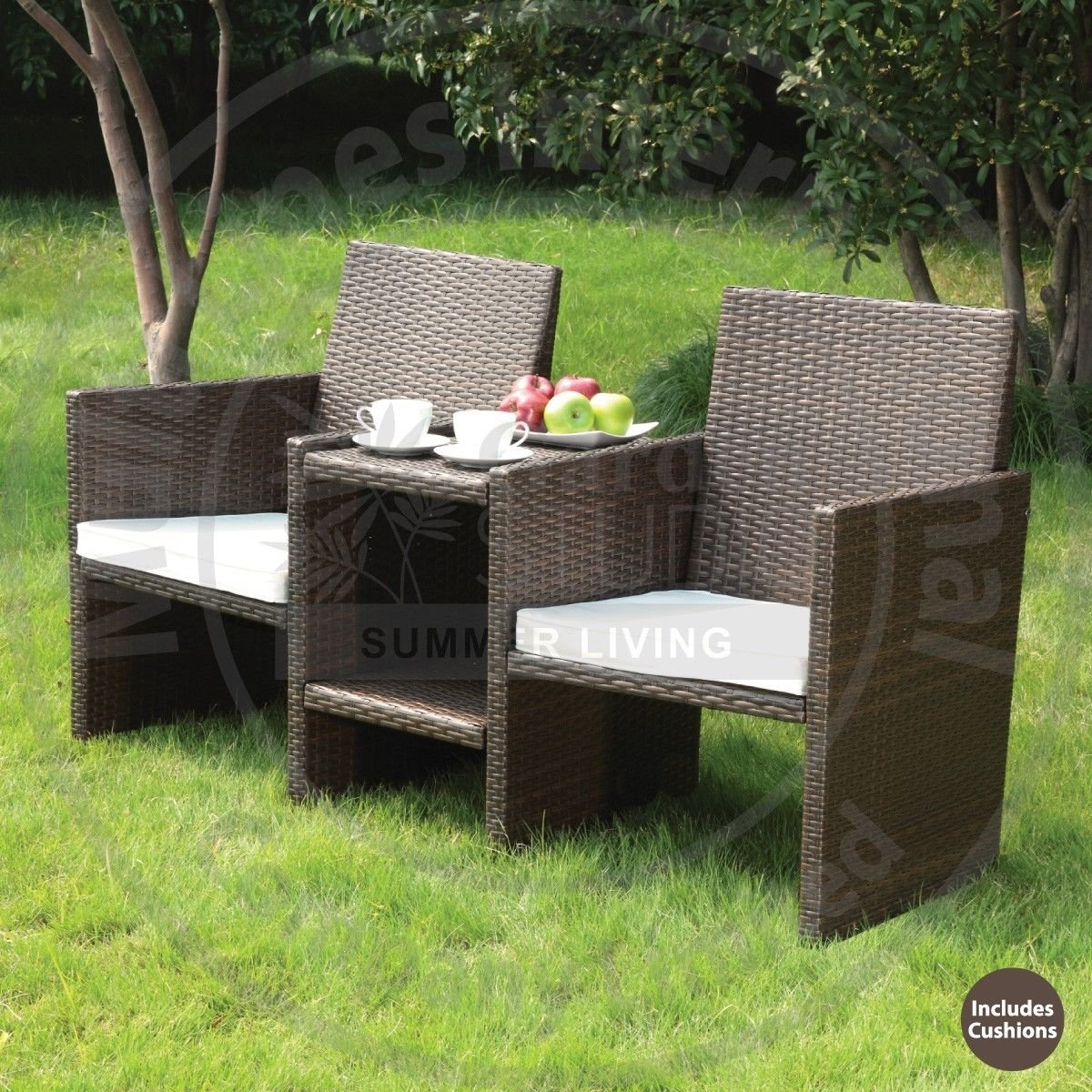 HK New Luxury Dark Brown Venice Rattan Comfortable 2 Seater Companion Set