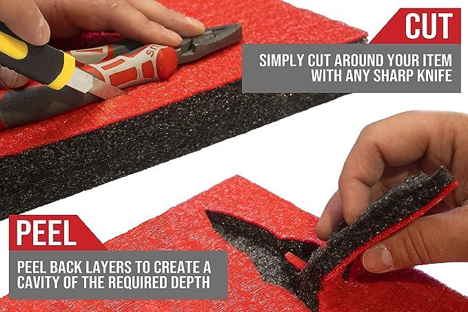 Shadow Foam Easy Peel , Gelb aud schwarz - personalisierbarer Schaumstoff f/ür die Organisation von Werkzeugkisten Dreierpack 50mm tiefe 600mm x 420mm