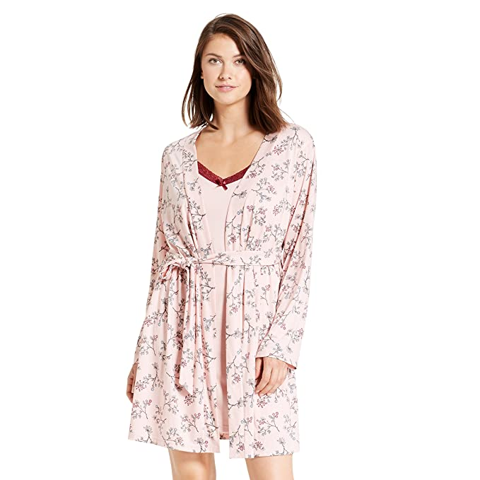 3821acd8d2cb Kathy Ireland Womens Floral Print Long Sleeve Belted Robe Nightgown Pajama  Set Rose Smoke Small