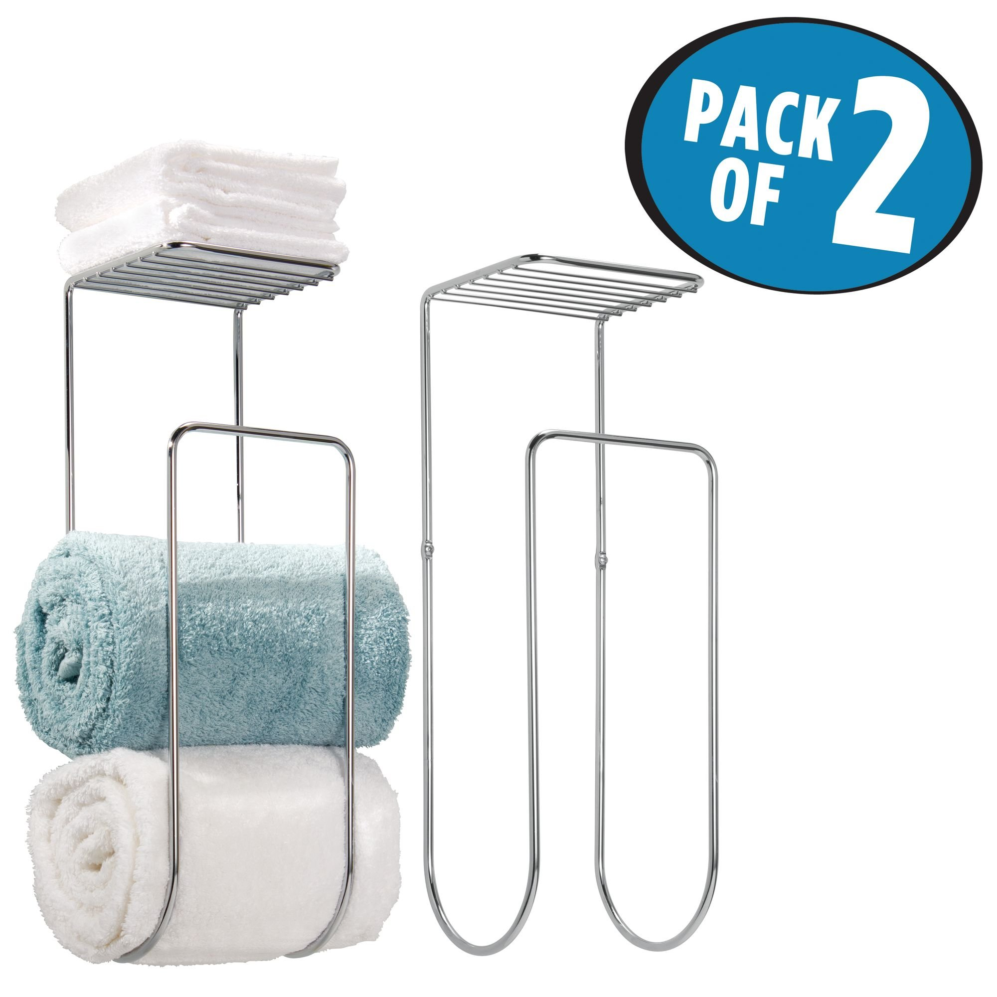 mDesign Wall Mount Towel Rack With Shelf for Bathroom or Linen Closet - Pack of 2, Chrome