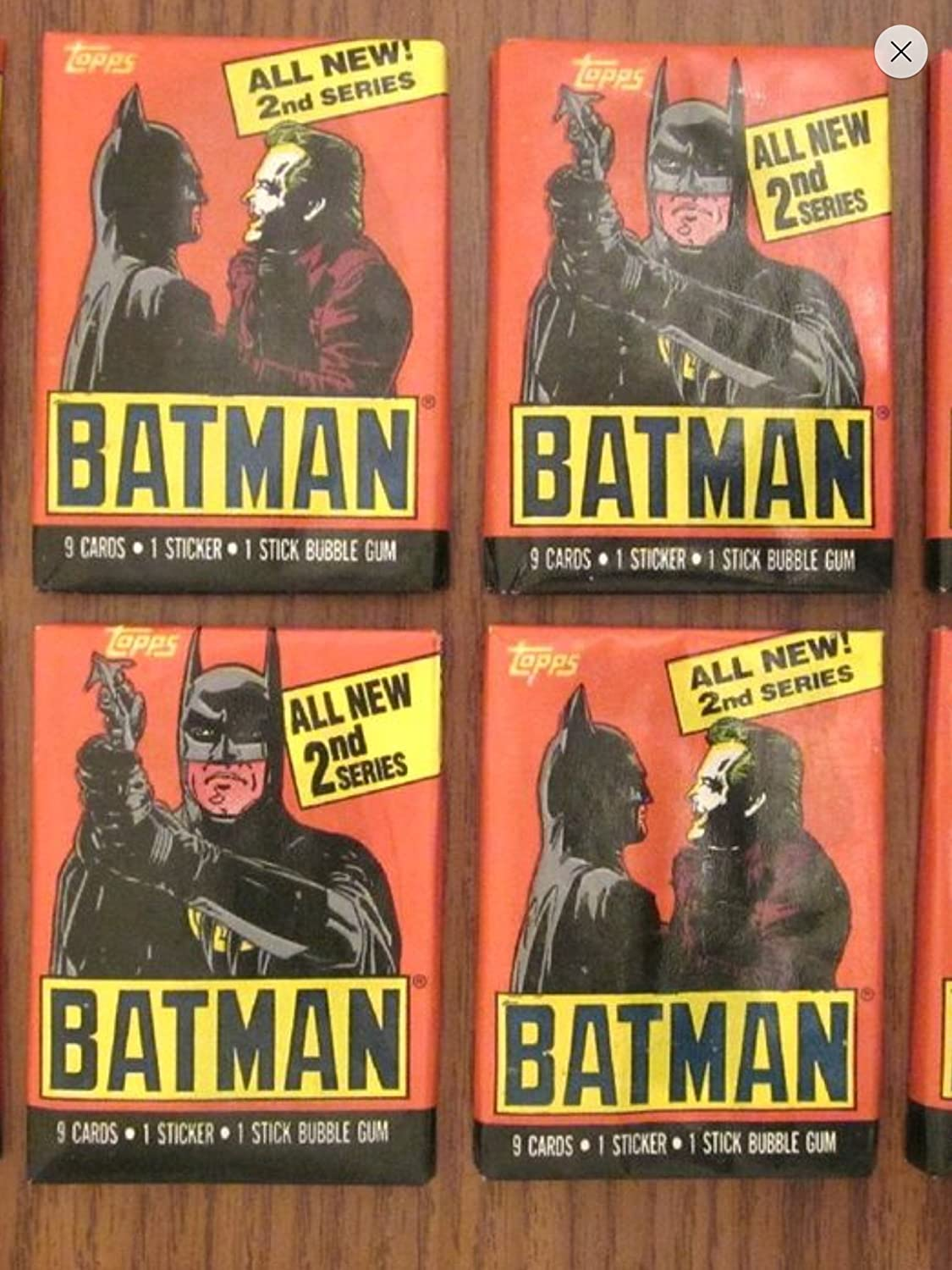 Batman Trading Cards (4) Unopened Wax Pack Lot Trading Cards and Stickers 1989 Topps 2nd Series Non-sport