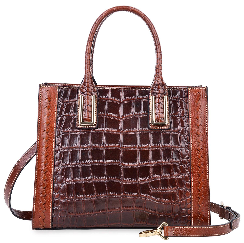 PIJUSHI Women Top Handle Satchel Handbags Designer Leather Tote Bag 27010(Brown Croco)