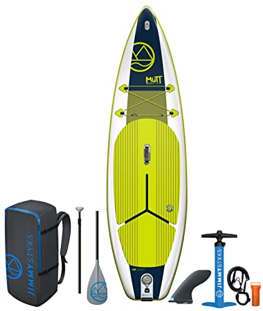 Jimmy Styks Mutt Inflatable Stand Up Paddle Board Green Blue 10 4 Long, 34 Wide, 5.9 Thick All Around Inflatable SUP Includes Click-N-Go Fin, Leash, Dual Action High-Pressure Pump, Adjustable
