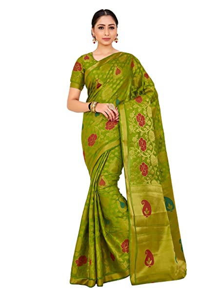 0c2ec003f2443a Mimosa By Kupinda Women s Art Silk saree Kanjivaram Style Color   Olive  Green (4175-