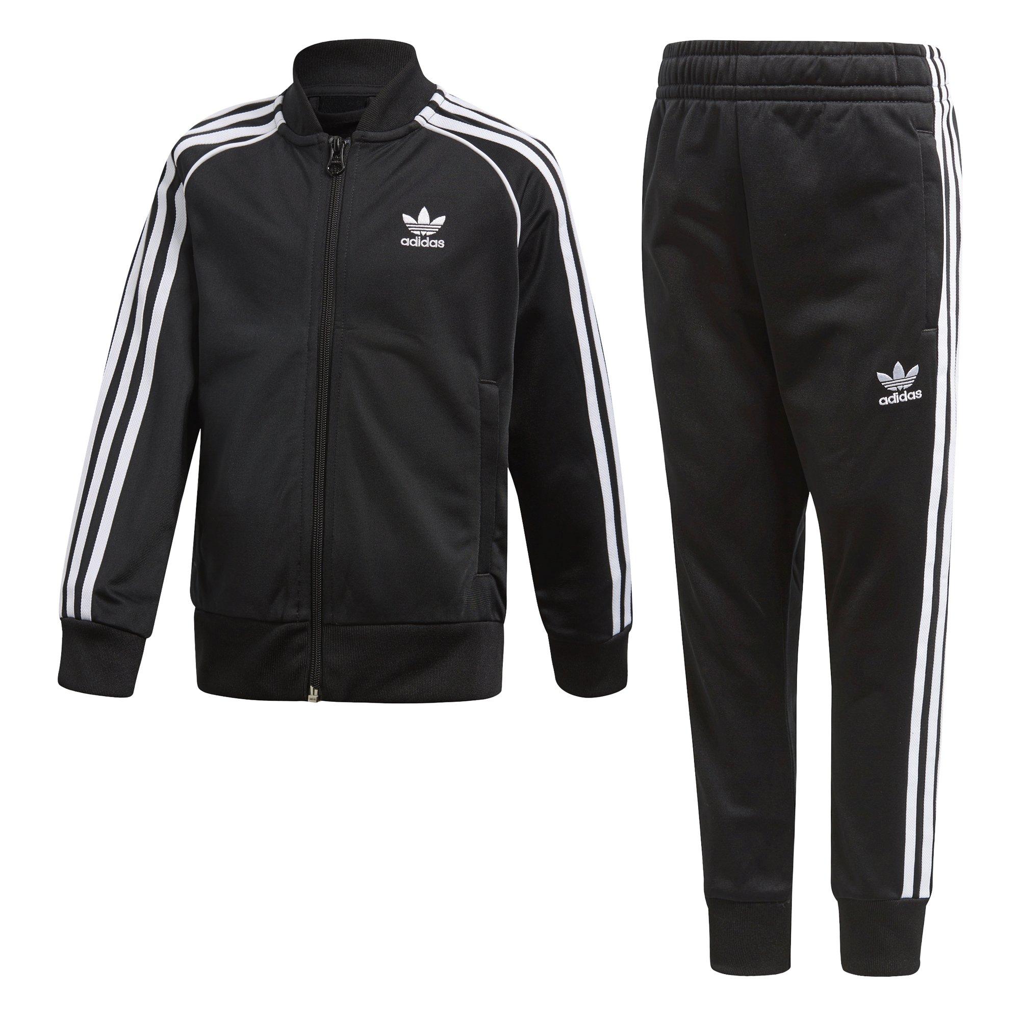 adidas Originals Boys' Big Originals Trefoil Superstar Tracksuit, Black, L