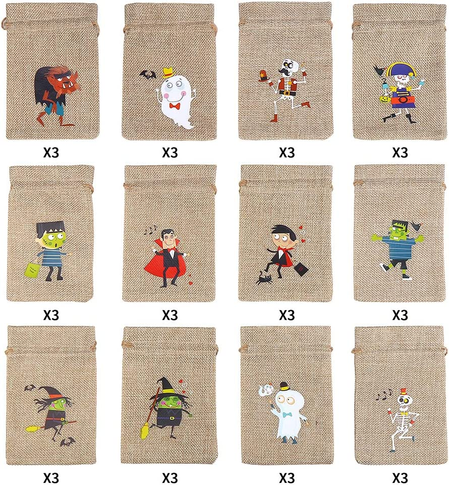 CCINEE 36pcs Burlap Halloween Party Bags Novelty Linen Jute Bags 4 x 6 for Halloween Gifts Packing Party Decoration Supplies