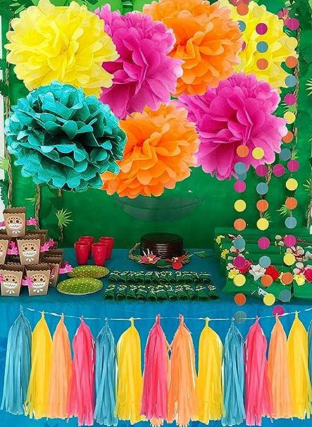 Moana Color Party Supplies Theme Birthday Decorations Teal Orange Yellow Fuchsia Tissue Paper Pom