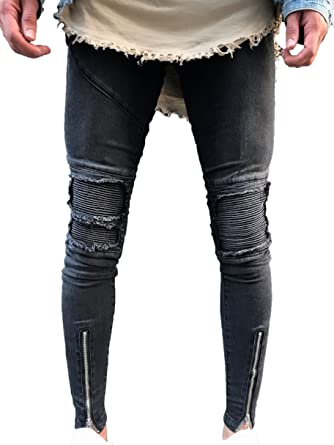 d3423134fc47 Men's Skinny Slim Fit Straight Ripped Destroyed Distressed Zipper Stretch  Knee Patch Denim Jeans (28