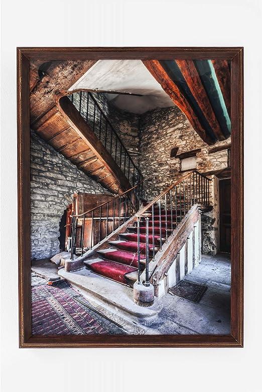 Kare Design - Cuadro con diseño de Escalera de Color Rojo y Alfombra roja (80 x 60 cm): Amazon.es: Jardín