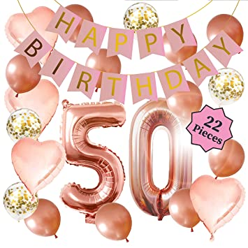 50th Birthday Decorations - Birthday Decorations: 40 Inch 50th Rose Gold Balloons, Pink and Gold Happy Birthday Decorations for Women, Happy Birthday ...