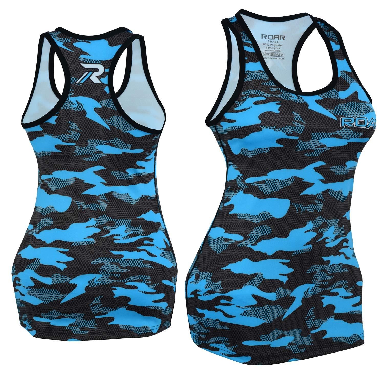 Roar No Gi Full Set Ladies Sports Bra BJJ Leggings MMA Shorts & Grappling Rash Guard Female Fight Wear (Only for Ladies) (Blue-PF-Vest, Medium) by ROAR-INT