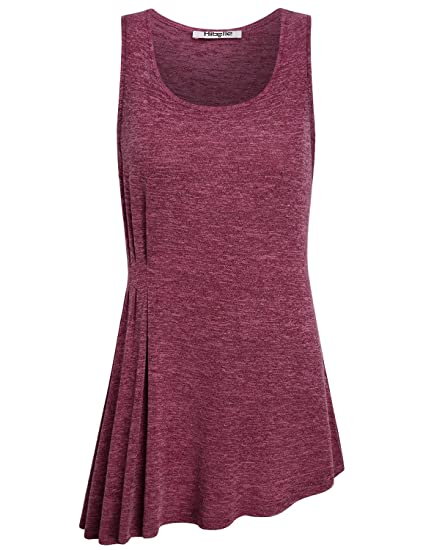 7ea58701f64082 Work Tank Tops for Women Office, Hibelle Ladies Casual Summer Flowy Tunic  Shirts Crew Neck Sleeveless Formal Bontique Blouses Pleated Waist  Asymmetrical ...