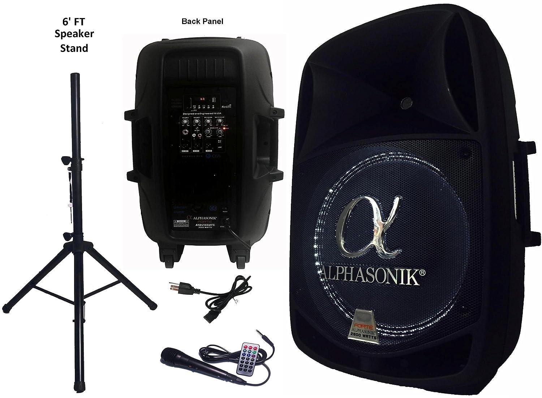 """Alphasonik 15"""" Powered 2800W PRO DJ Amplified Loud Speaker"""