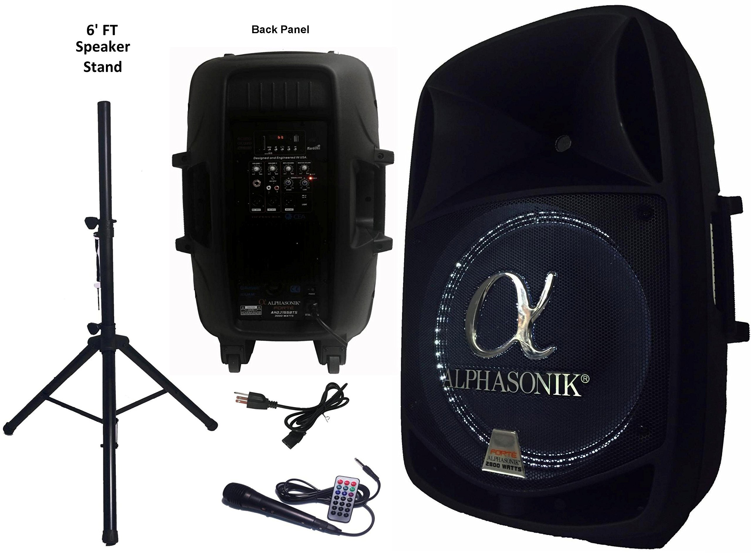 Alphasonik 15'' Powered 2800W PRO DJ Amplified Loud Speaker Bluetooth USB SD Card AUX MP3 FM Radio PA System LED Ring Karaoke Feature Mic (Main Monitor, Band, Church, Party, Guitar Amp) w/ Tripod Stand by Alphasonik