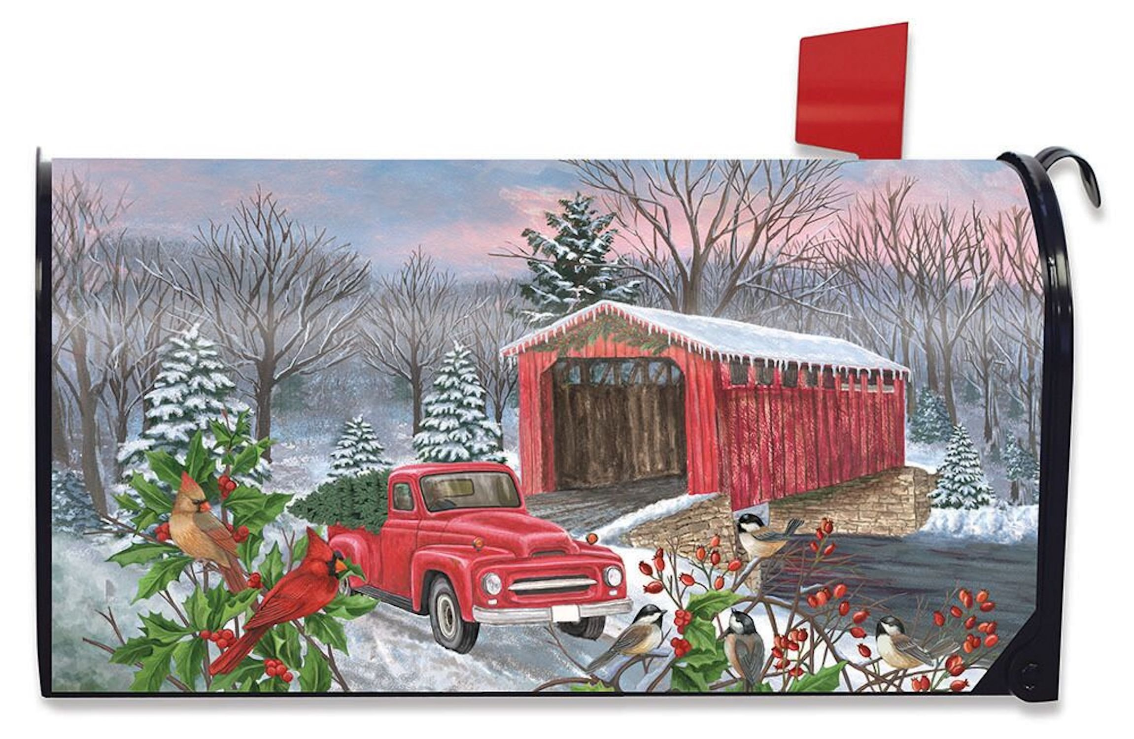 Winter Covered Bridge Seasonal Mailbox Cover Pickup Truck Cardinals Standard
