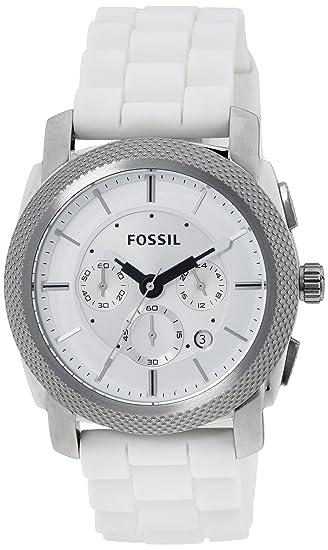 Fossil Machine FS4805 - Reloj cronógrafo de cuarzo para hombre, correa de silicona color blanco