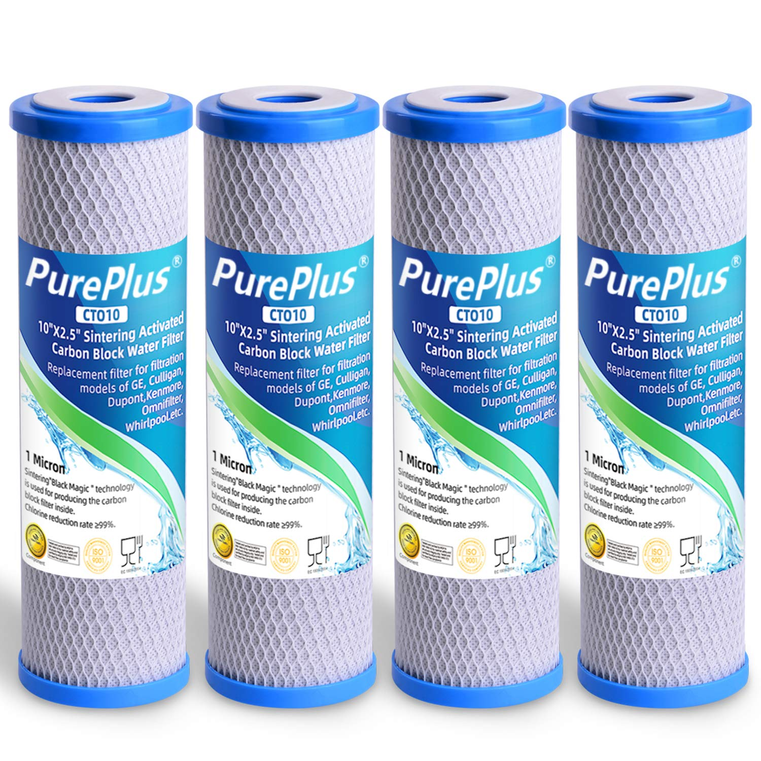 PUREPLUS 1 Micron 2.5'' x 10'' Whole House CTO Carbon Sediment Water Filter Replacement Cartridge Compatible with RO Unit, Dupont WFPFC8002, WFPFC9001, FXWTC, SCWH-5, WHEF-WHWC, WHCF-WHWC, 4 Pack by PUREPLUS