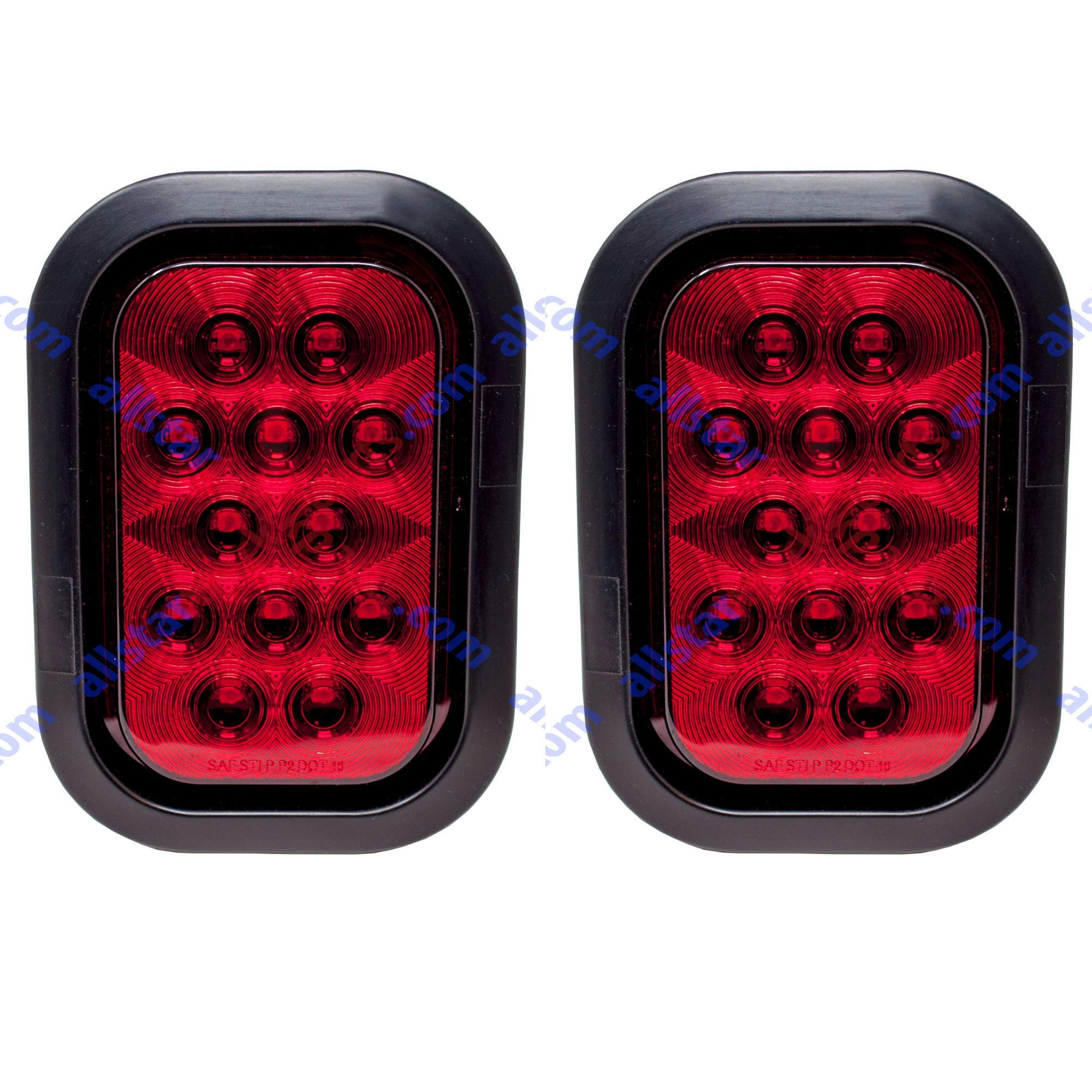 Qty 2-5x3'' Red Rectangle 12 LED Stop/Turn/Tail Truck Light Grommet & Pigtail by All Star Truck Parts