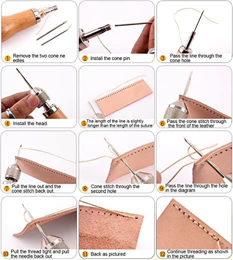 kit di cucito punteruolo ago Arts /& CRAFT Tools per navigare in pelle e tela pesante riparazione di Wankd Professional Speedy Stitcher cucito punteruolo Tool kit