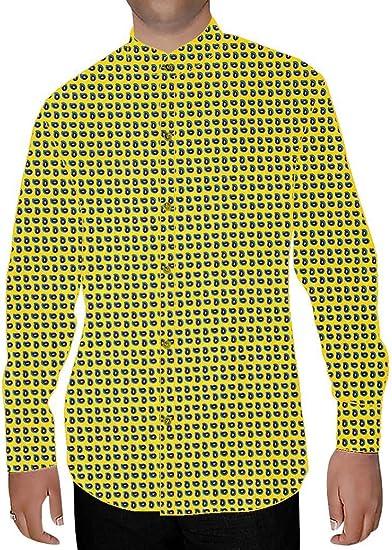 INMONARCH - Camisa Formal - Manga Larga - para Hombre Amarillo Amarillo Medium: Amazon.es: Ropa y accesorios