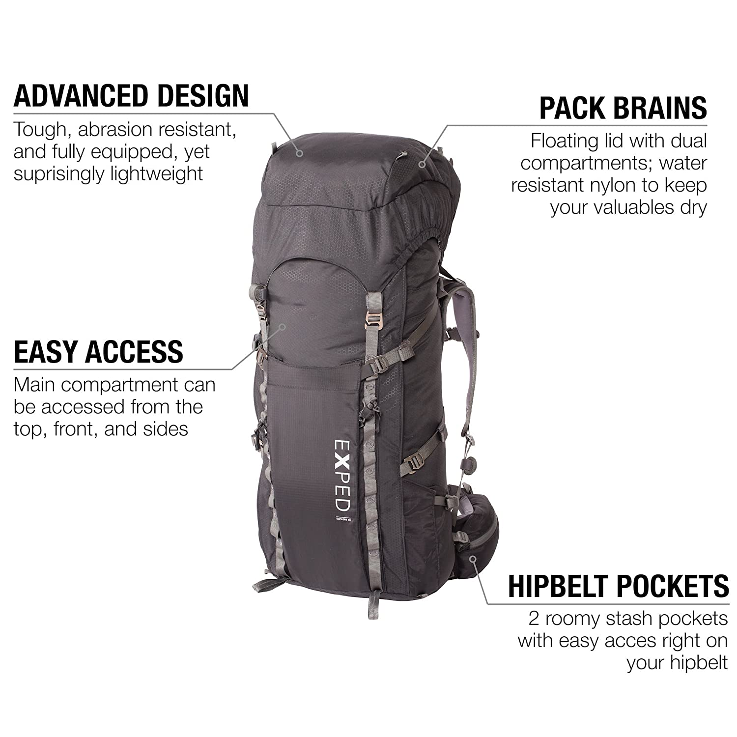 4e4a5b06b42c Amazon.com: Exped Men's Explore 60 Backpack: Sports & Outdoors