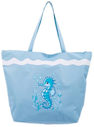486a7bfd2b Beach Bag Womens Ladies 50 x 38 cms Large Summer Beach Canvas Tote Bags Zip  closure Airee Fairee (Seahorse Blue)  Amazon.co.uk  Clothing