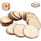 "Goodlucky 50pcs 2""-2.5"" Unfinished Predrilled Natural Wood Slices"