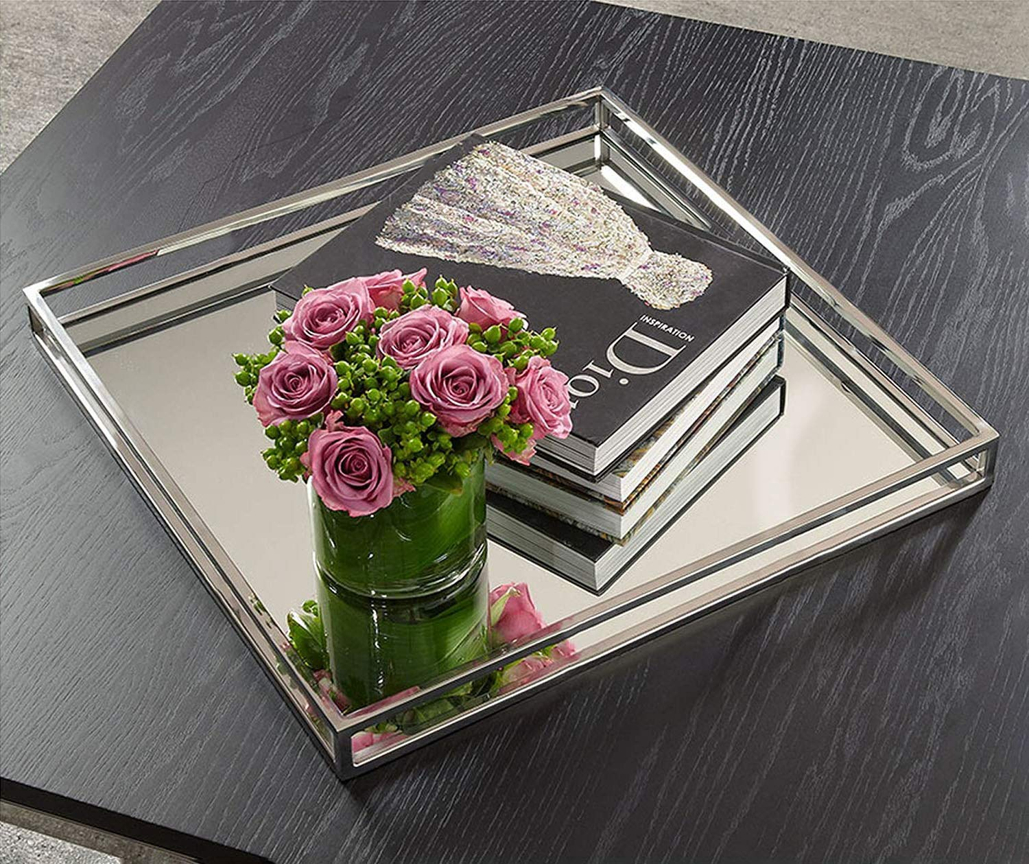 Le'raze Beautiful Mirrored Tray with Chrome Rails, Elegant Square Vanity Mirror Tray with with Side Bars, Makes A Great Bling Gift by Le'raze (Image #1)