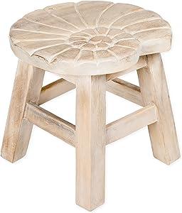 Sea Island Imports Nautilus Shell Whitewash Design Hand Carved Acacia Hardwood Decorative Short Stool