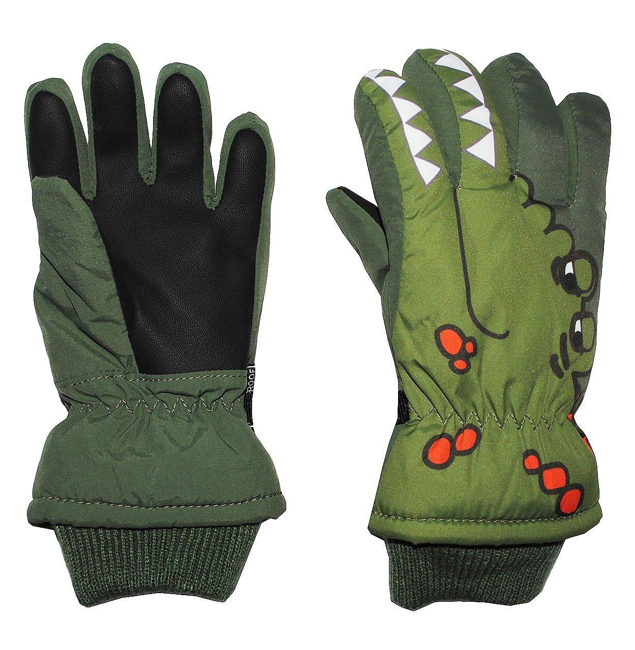 Fingerhandschuhe mit Schaft / Strick Bündchen - Krokodil grün - Thermo gefüttert Thermohandschuh - Größe: 4 bis 6 Jahre - wasserdicht + atmungsaktiv Thinsulate - Fingerhandschuh für Kinder - Mädchen Jungen - Thermohandschuhe Handschuhe - Fleece Futter