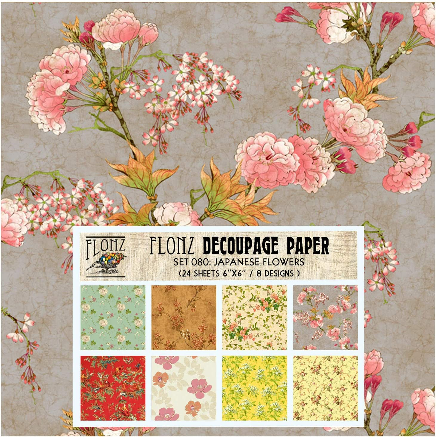 24 Sheets 6x6 Craft and Scrapbooking Decoupage Paper Pack Japanese Flowers FLONZ Vintage Styled Paper for Decoupage