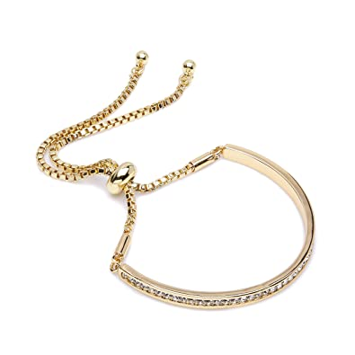 0bc40212c91f The Gemseller 18K Yellow Gold Plated Box Chain Bracelet with Bar Set with Swarovski  Crystals and Adjustable Clasp  Amazon.co.uk  Jewellery