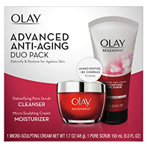 Olay Regenerist Advanced Anti-Aging Pore Scrub Cleanser (5.0 Oz) and Micro-Sculpting Face Moisturizer Cream (1.7 Oz) Skin Care Gift Set