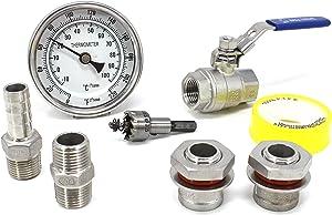 CONCORD Home Brewing Starter Kit. Weldless Setup including Ball Valve, Barb Hose, Bulkhead, Thermometer, etc