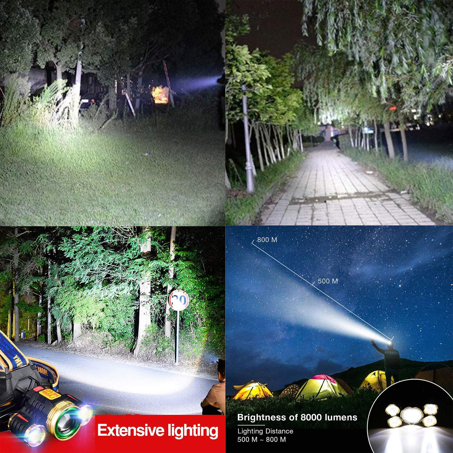 VERISA LED Head Torch Super Bright Zoomable, USB Rechargeable Waterproof Headlamp Adjustable Focus 4 Modes Headlight for Outdoor Camping Fishing Hunting Hiking Running Walking Cycling